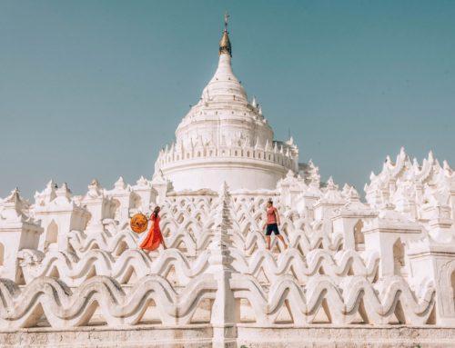 Mandalayn valkoinen temppeli ja kuuluisa U Bein -silta